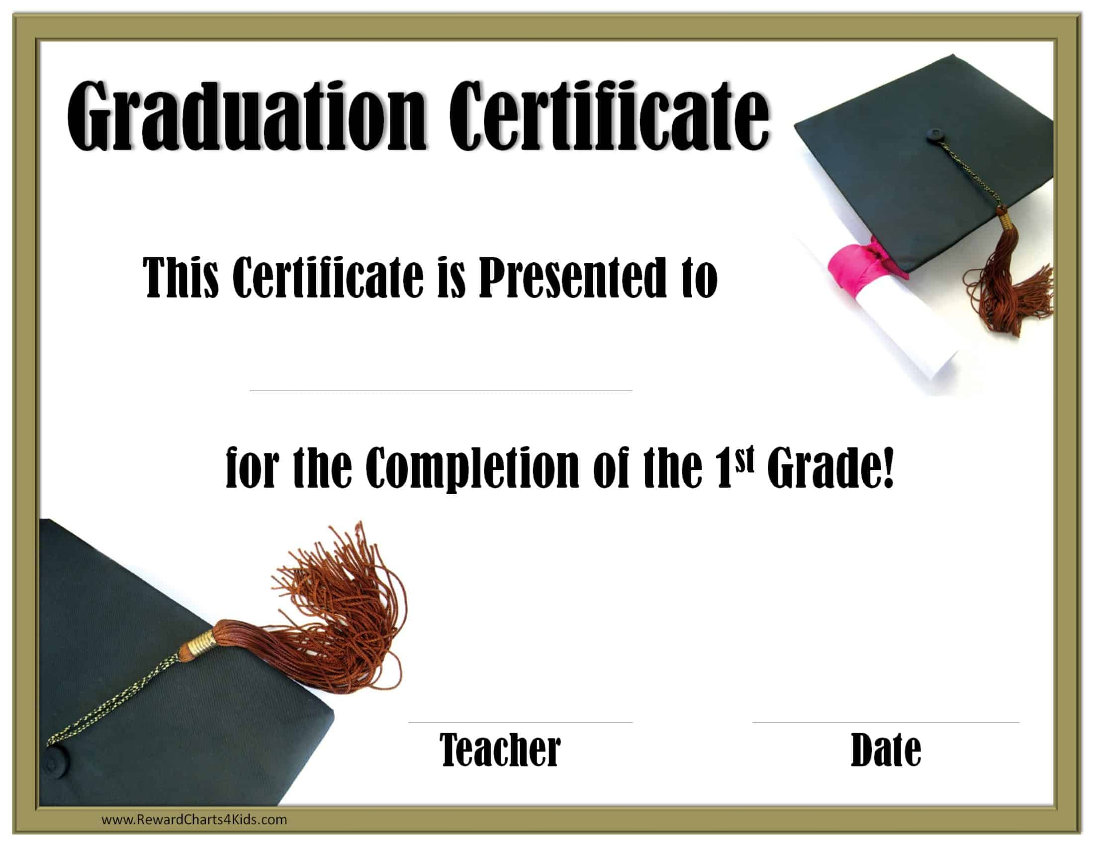 School Graduation Certificates | Customize Online With Or Pertaining To 5Th Grade Graduation Certificate Template