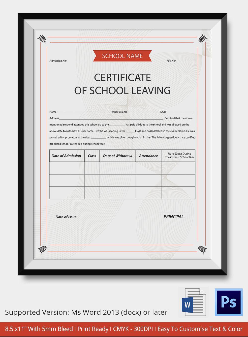School Leaving Certificate Template | Certificate Templates Regarding School Leaving Certificate Template