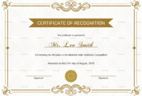 School Recognition Certificate Template throughout Certificate Templates For School