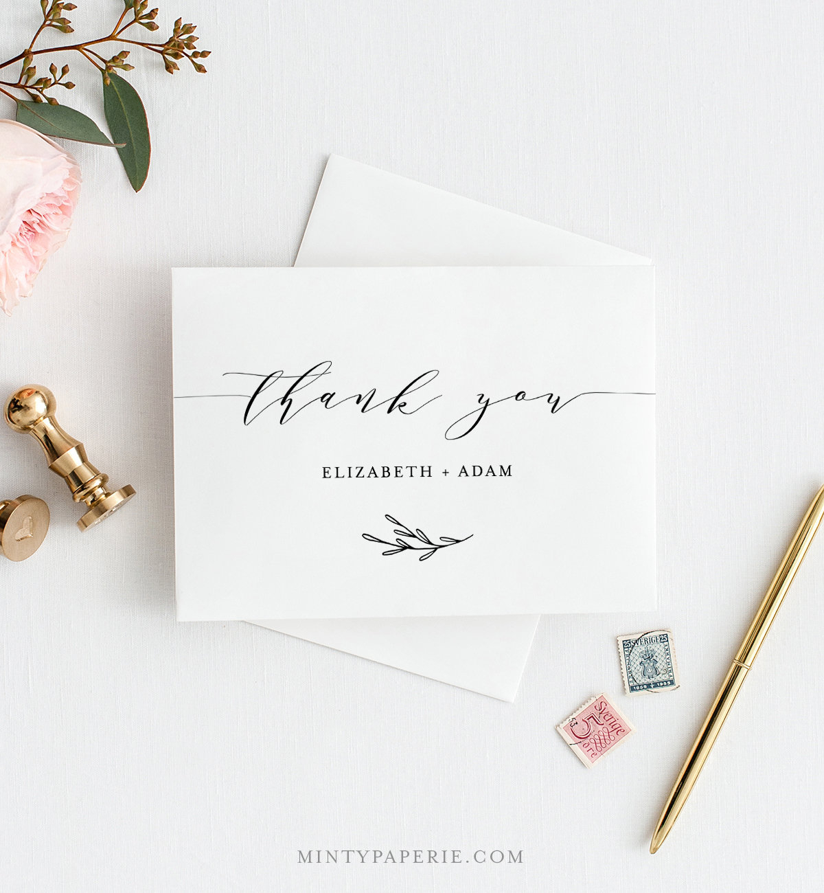 Self Editing Thank You Template, Folded Thank You Note With Regard To Thank You Note Card Template