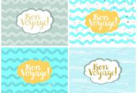 Set Of Four Cards, Vector Templates. Bon Voyage. with regard to Bon Voyage Card Template