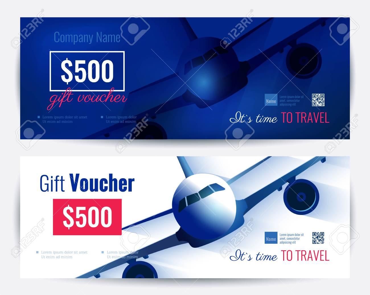 Set Of Gift Travel Voucher Template. Gift Certificate For A In Free Travel Gift Certificate Template