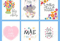 Set Of Mother's Day Cards Templates With Quotes In Portuguese in Mothers Day Card Templates