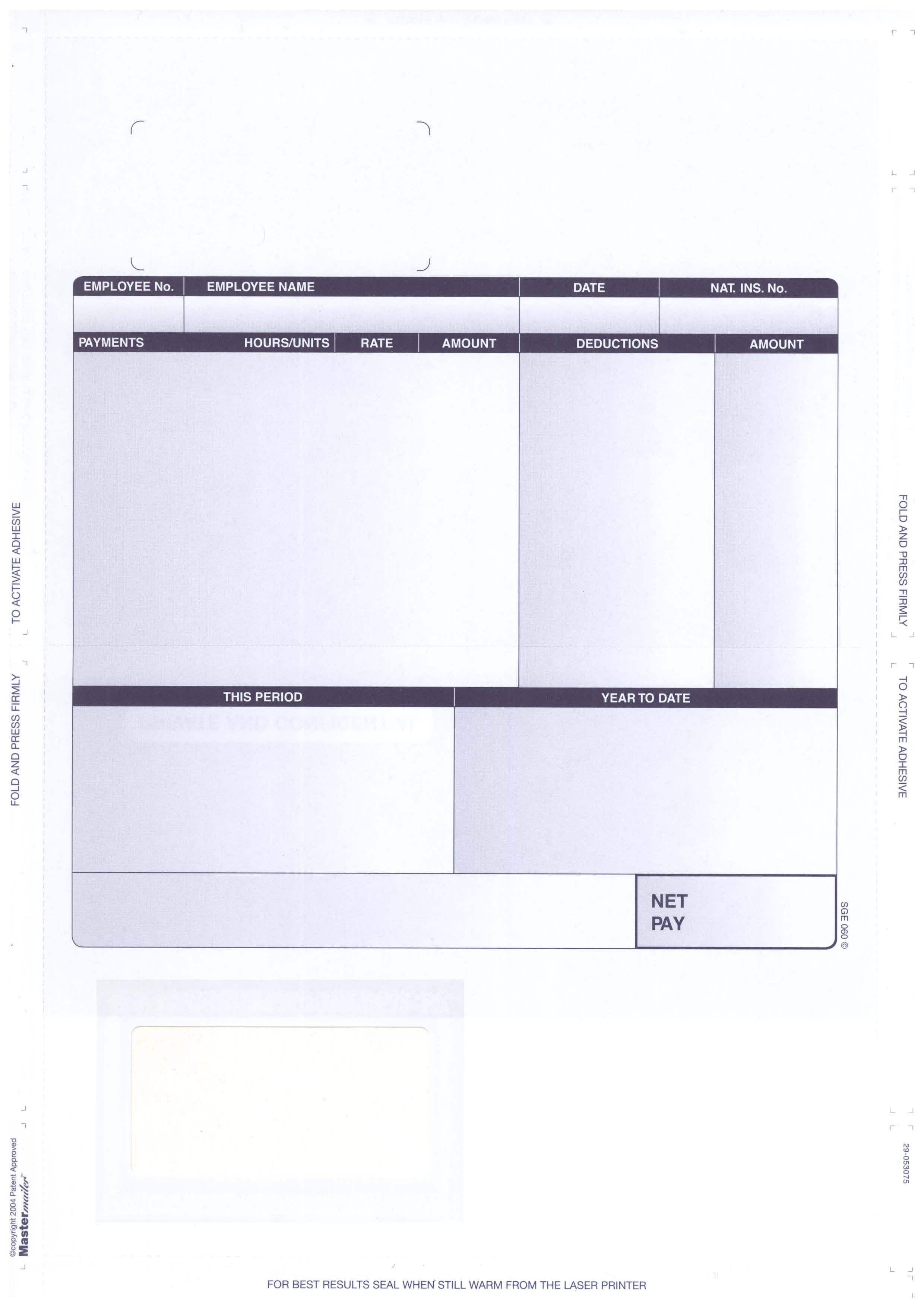 Sge060 – Sage Compatible Self Seal Security Payslip – Various Pack Sizes Pertaining To Blank Payslip Template