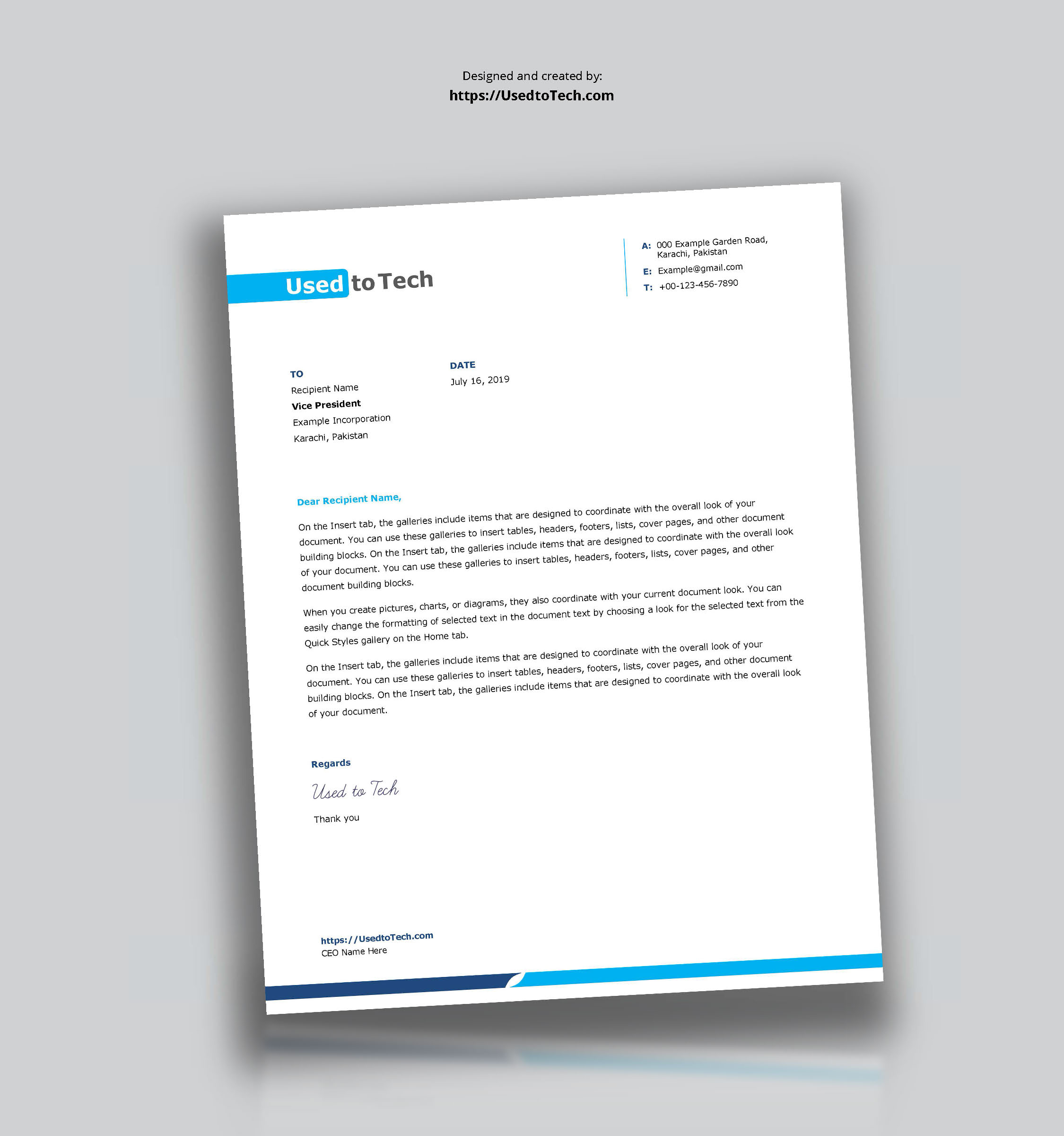Simple And Clean Word Letterhead Template - Free - Used To Tech Throughout Word Stationery Template Free