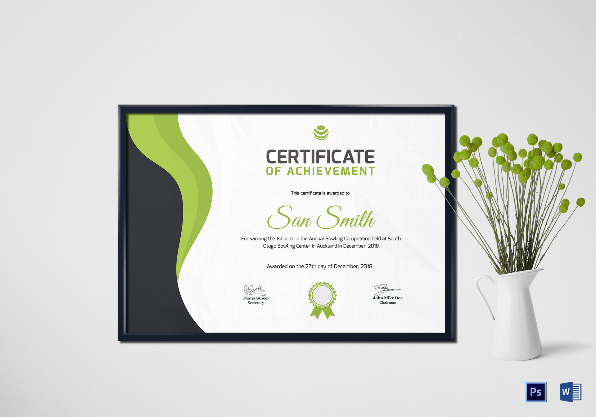 Simple Bowling Award Certificate Template Pertaining To Award Certificate Design Template