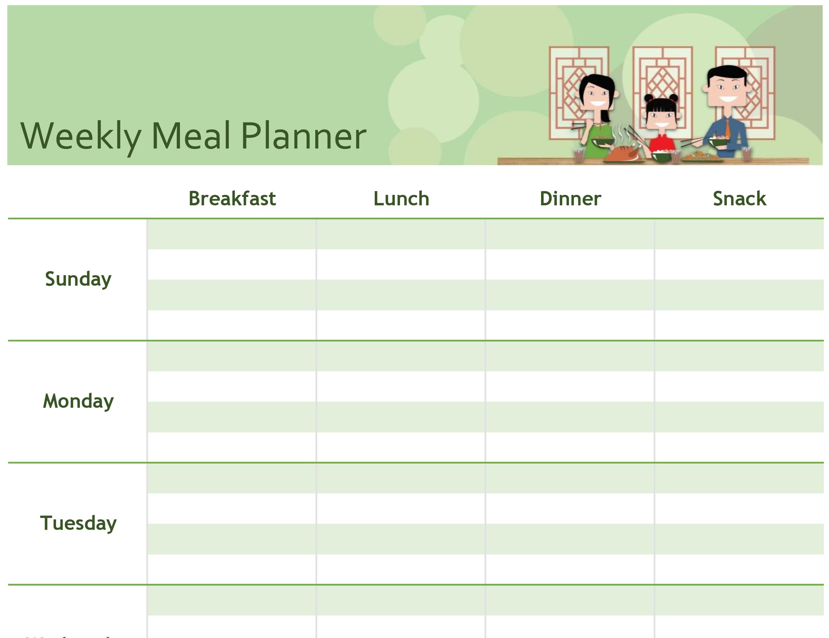 Simple Meal Planner Inside Meal Plan Template Word