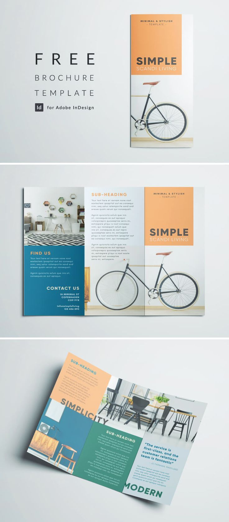 Simple Tri Fold Brochure | Design Inspiration | Graphic For Adobe Indesign Tri Fold Brochure Template