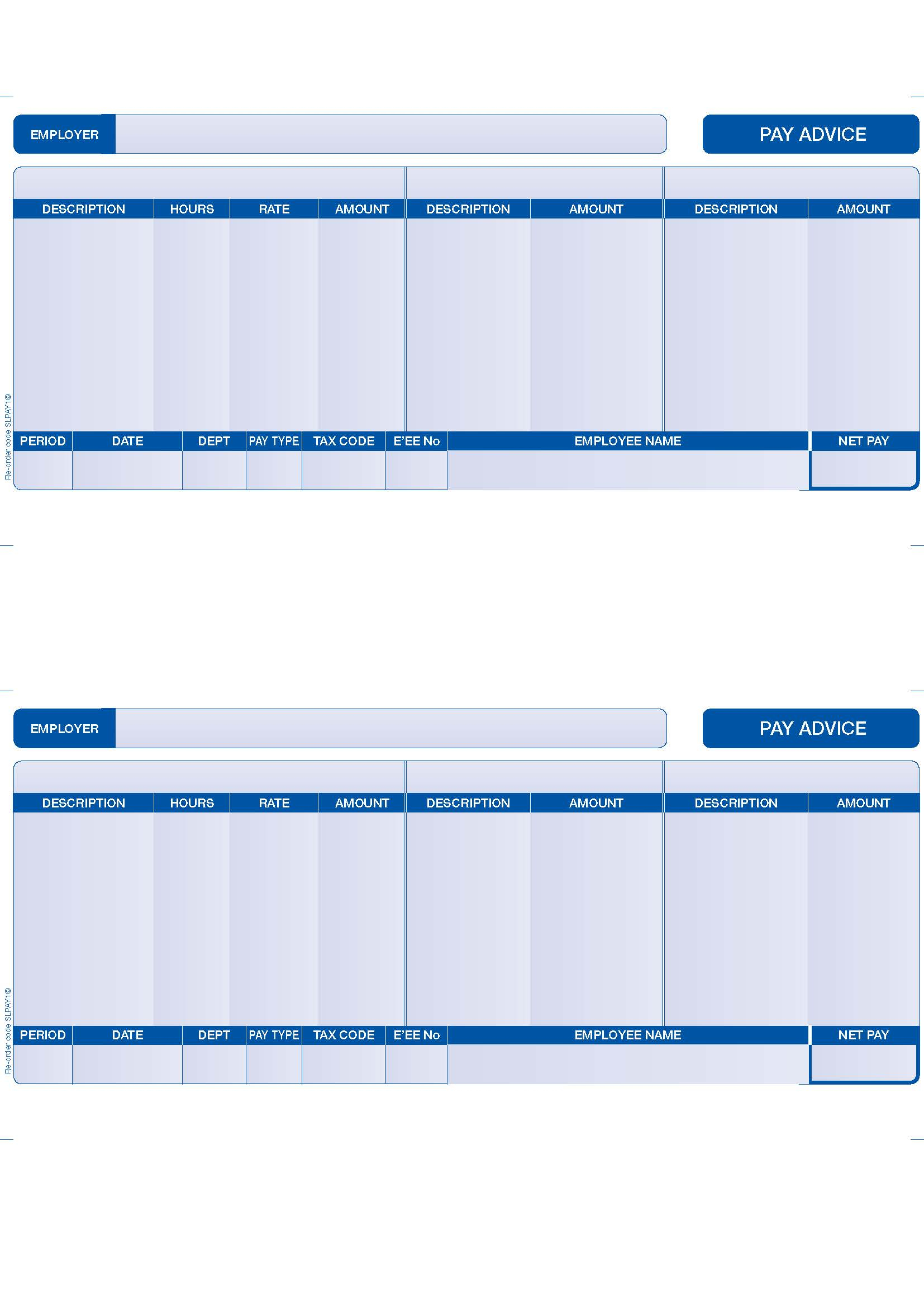 Slpay1 – Compatible Sage Payslips – 2 Per Page (Blue) – Various Pack Sizes Inside Blank Payslip Template