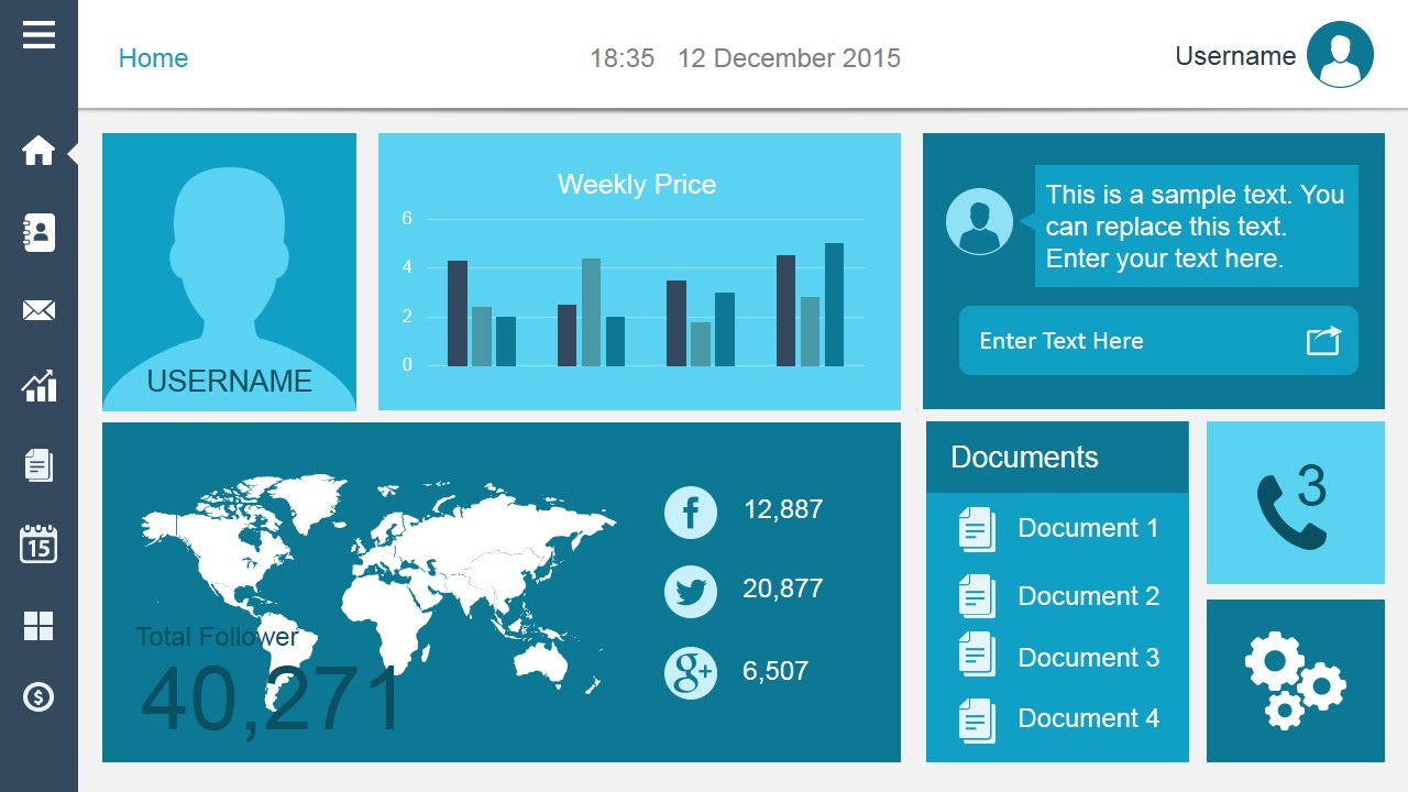 Smart Dashboard Powerpoint Template With Regard To Free Powerpoint Dashboard Template