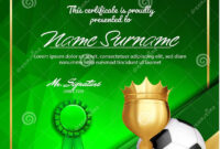 Soccer Certificate Diploma With Golden Cup Vector. Football regarding Soccer Certificate Template Free