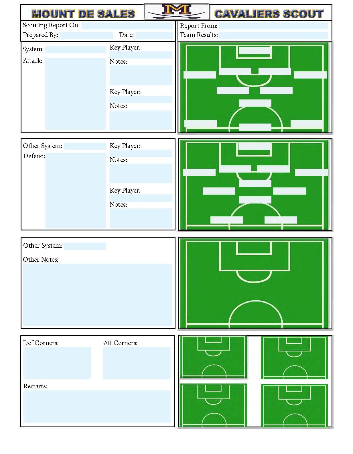 Soccer Scouting Template | Other Designs | Football Coaching For Football Scouting Report Template