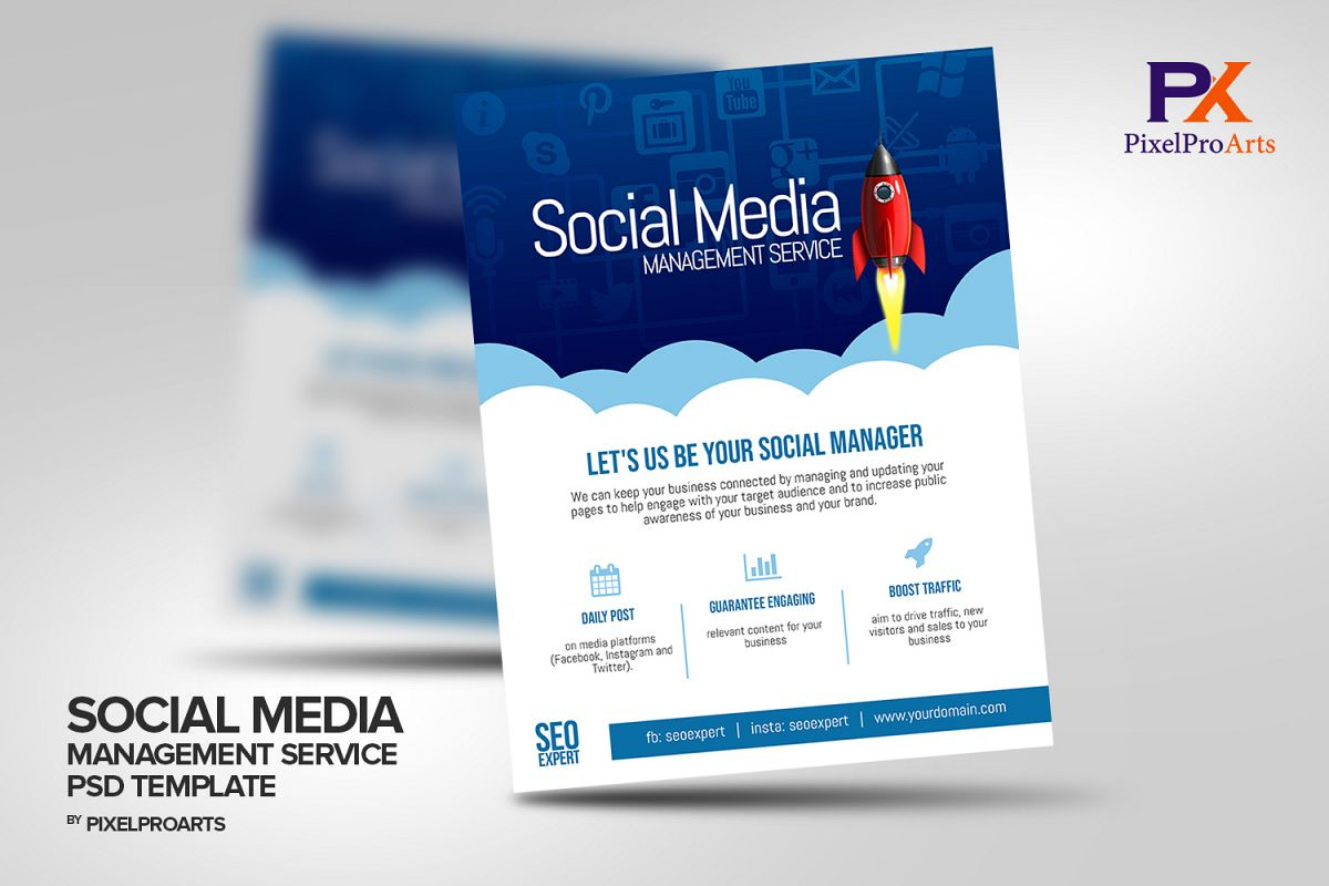 Social Media Management Service Flyer Template Inside Social Media Brochure Template