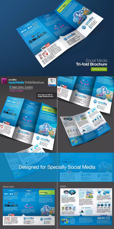 Social Media Tri Fold Brochure Template Indd   Bi Fold Within Social Media Brochure Template