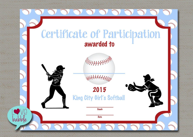 Softball Certificate Templates - Atlantaauctionco With Free Softball Certificate Templates