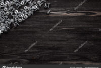 Some Wood Crews On Dark Wooden Desk Board Surface. Top View intended for Borderless Certificate Templates