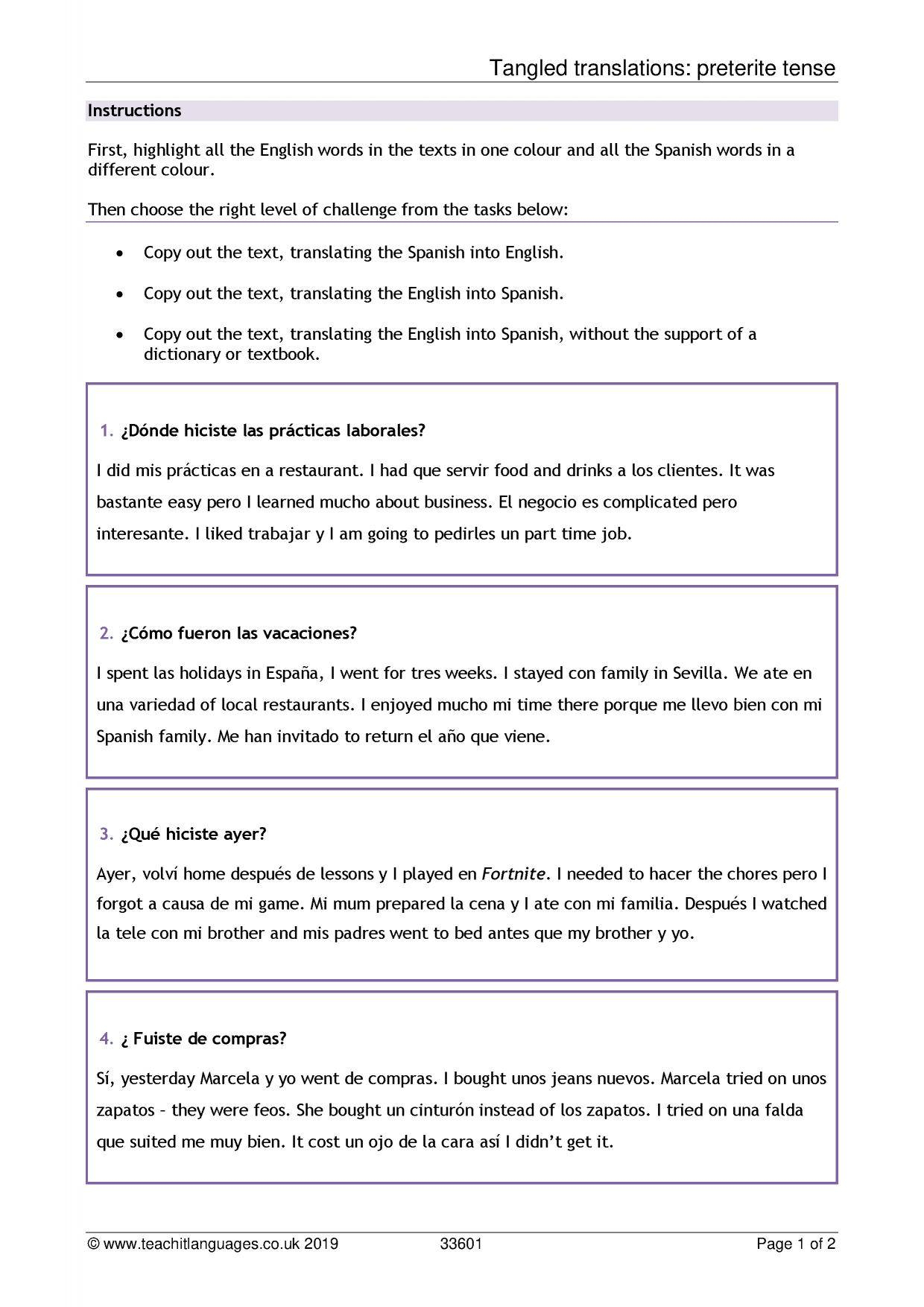 Spanish Language Teaching Resources – Teachit Languages Within Book Report Template In Spanish
