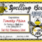 Spelling Bee Awards ~ Fillable | Spelling Bee, Bee Intended For Spelling Bee Award Certificate Template