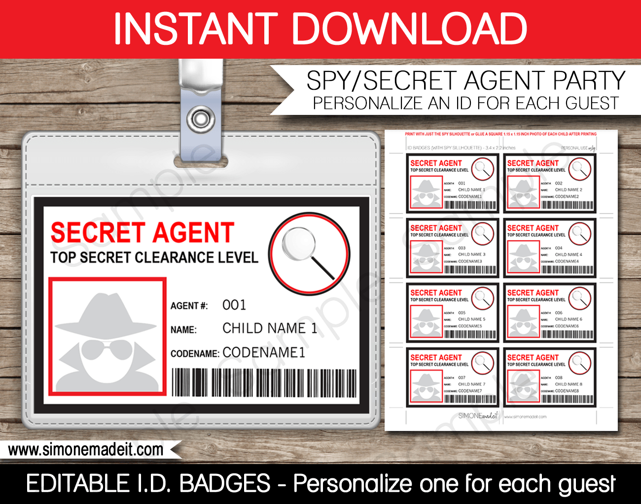 Spy Or Secret Agent Badge Template – Red   Girl Scouts   Spy Pertaining To Spy Id Card Template