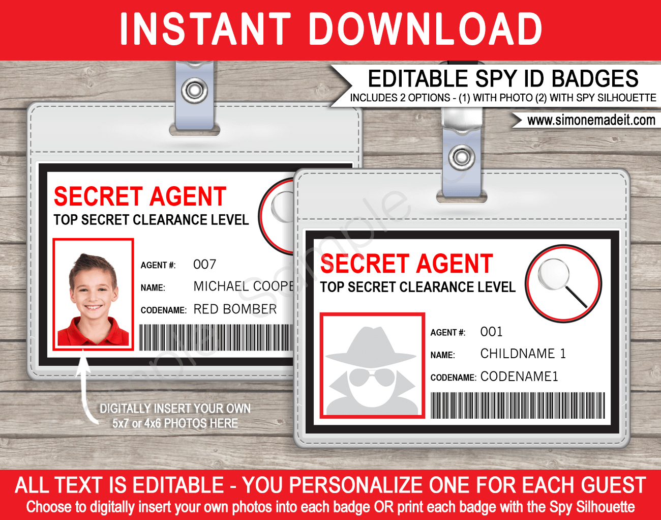 Spy Or Secret Agent Badge Template – Red Pertaining To Spy Id Card Template