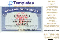 Ssn Usa Social Security Number Template for Social Security Card Template Photoshop