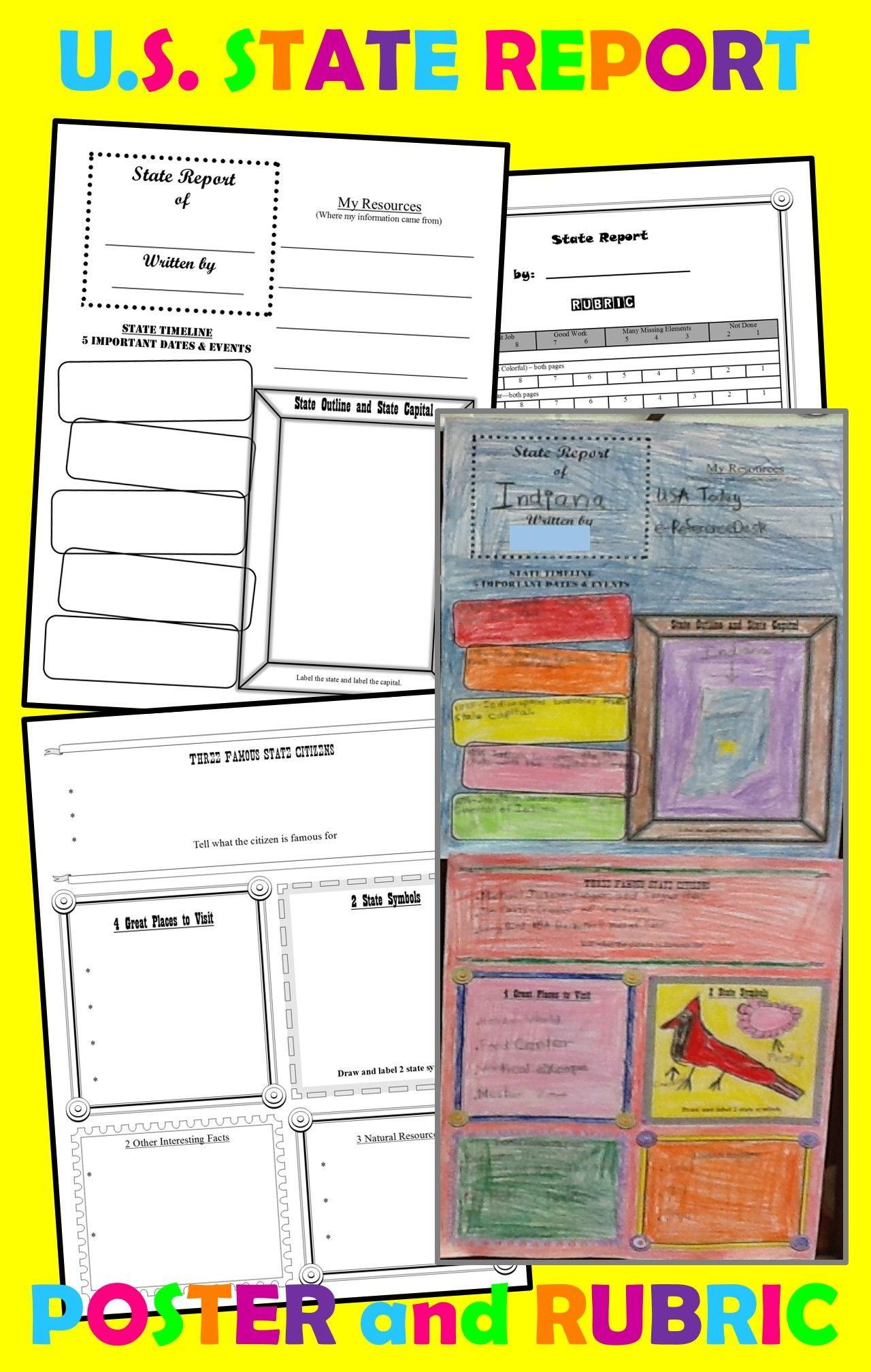 State Report Poster (Template) For Intermediate Grades With State Report Template