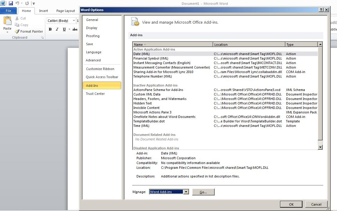Steps To Enable Bi Publisher Add In Menu In Microsoft Office For Word 2010 Templates And Add Ins