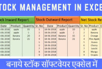 Stock Maintain Software In Excel In Hindi with Stock Report Template Excel