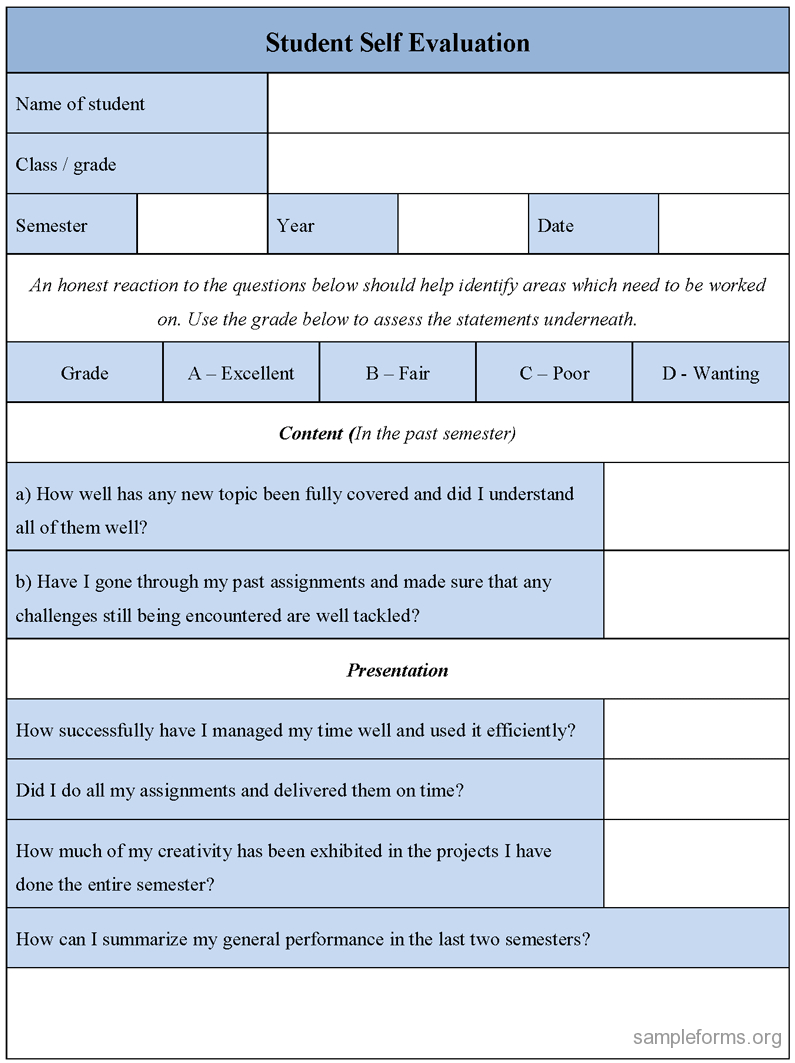 Student Self Evaluation Form : Sample Forms Inside Student Feedback Form Template Word