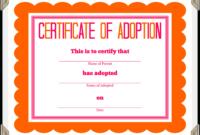 Stuffed Animal Adoption Certificate regarding Pet Adoption Certificate Template