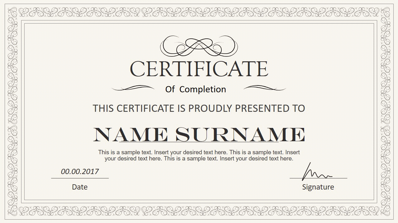 Stylish Certificate Powerpoint Templates Intended For Award Certificate Template Powerpoint