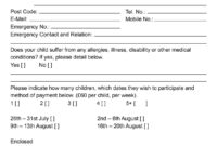 Summer Camp Registration Form Template * You Can Get More pertaining to Camp Registration Form Template Word