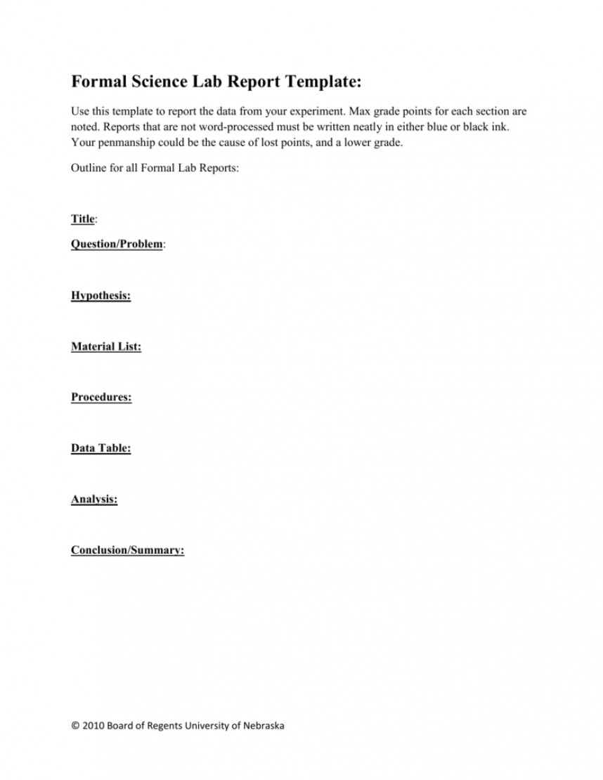 Surprising Lab Report Template Word Ideas Physics Format Inside Formal Lab Report Template