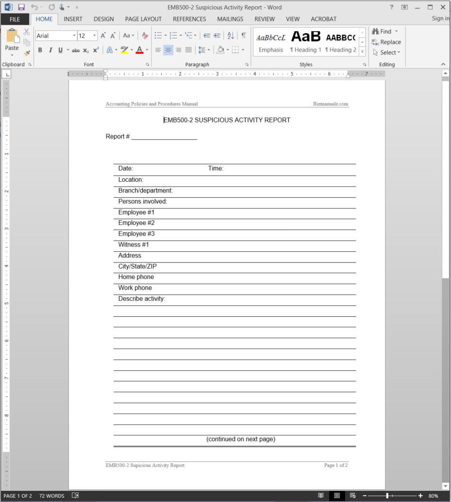 Suspicious Activity Report Template | Emb500 2 Throughout Activity Report Template Word