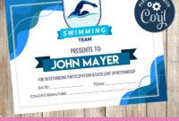 Swimming – Certificate – Printable – 3Grafik   Certificates inside Free Swimming Certificate Templates