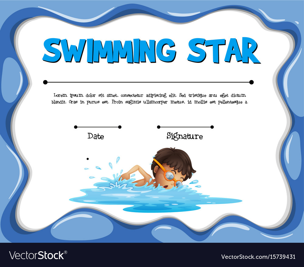 Swimming Star Certification Template With Swimmer With Regard To Free Swimming Certificate Templates