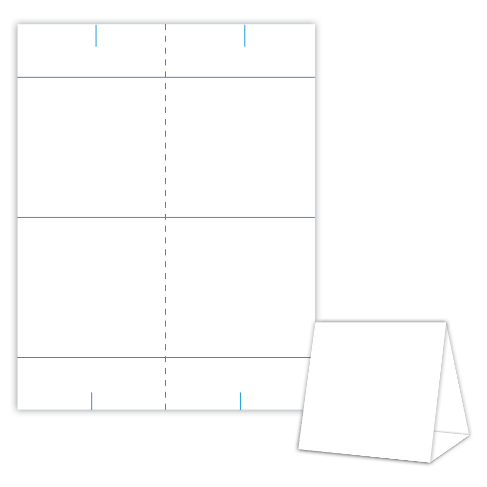 Table Tent Design Template Blank Table Tent - White - Cover With Regard To Blanks Usa Templates
