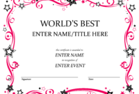 Talent Show Award   Babysitting   Free Certificate Templates With Regard To Best Employee Award Certificate Templates