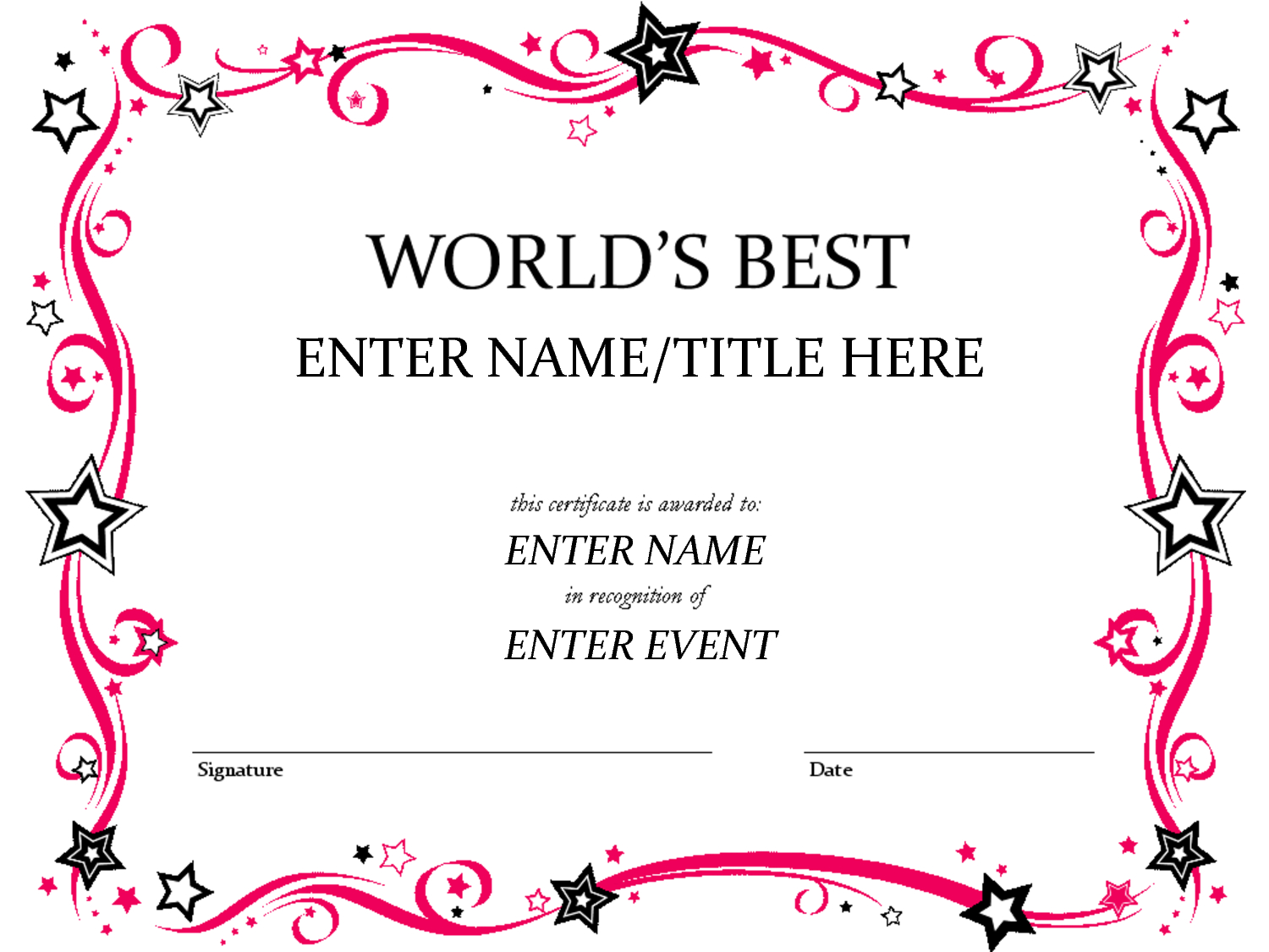 Talent Show Award | Babysitting | Free Certificate Templates With Regard To Best Employee Award Certificate Templates