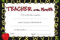 Teacher Of The Month with regard to Teacher Of The Month Certificate Template
