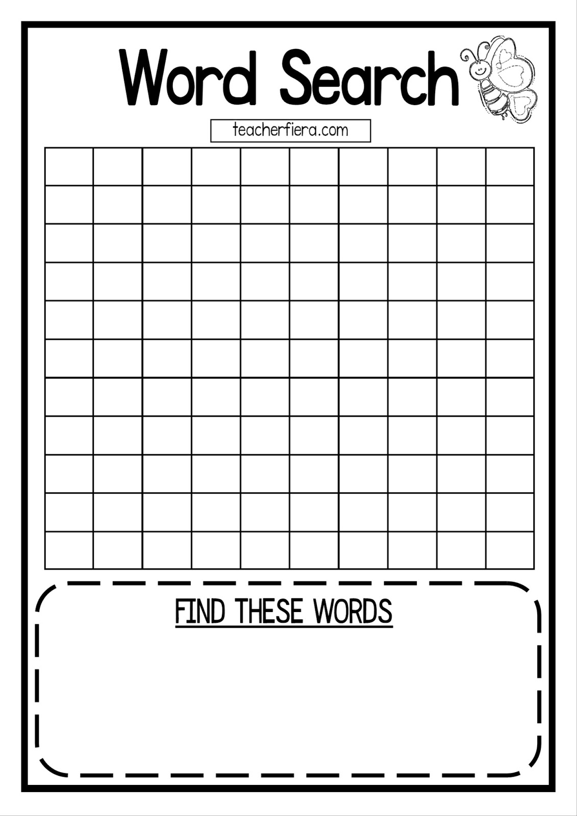 Teacherfiera: Word Search Templates (Coloured And Black With Word Sleuth Template