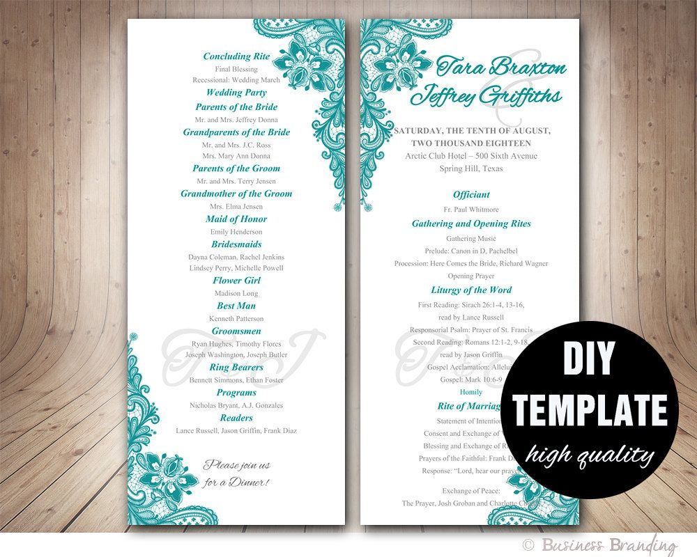 Teal Wedding Program Template - Instant Download Microsoft With Free Printable Wedding Program Templates Word