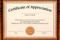 Template: Editable Certificate Of Appreciation Template Free with Certificate Of Participation Word Template