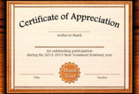 Template: Editable Certificate Of Appreciation Template Free within Certificate Of Recognition Word Template