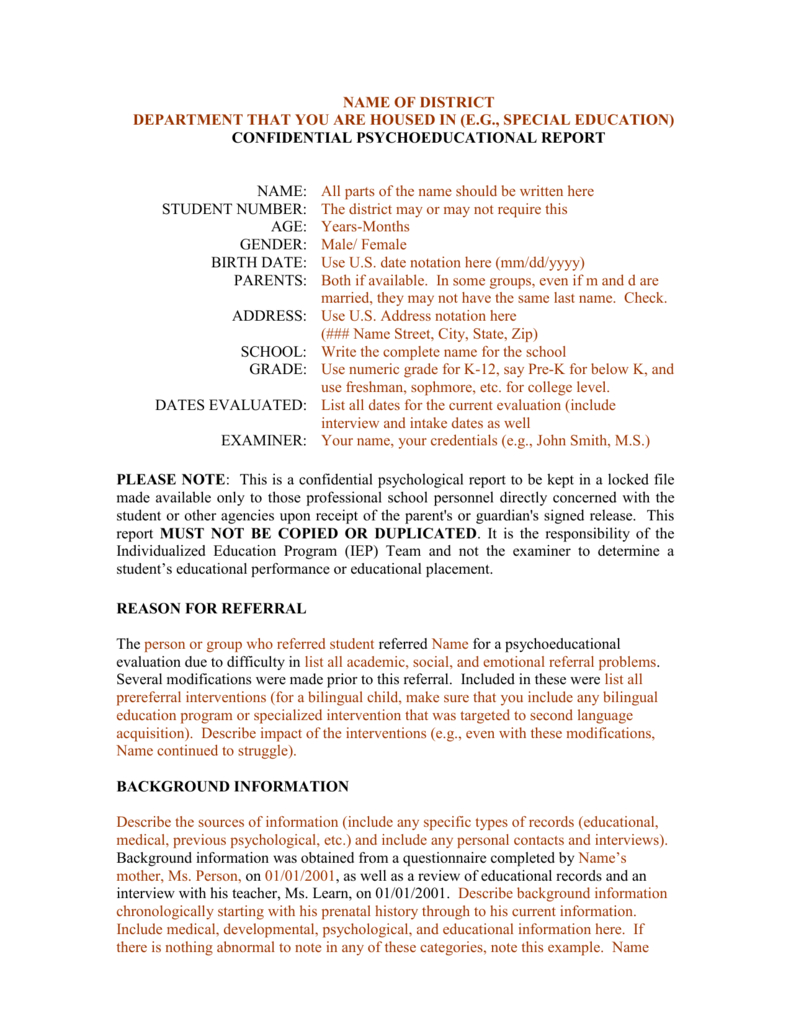 Template For A Bilingual Psychoeducational Report Intended For Psychoeducational Report Template