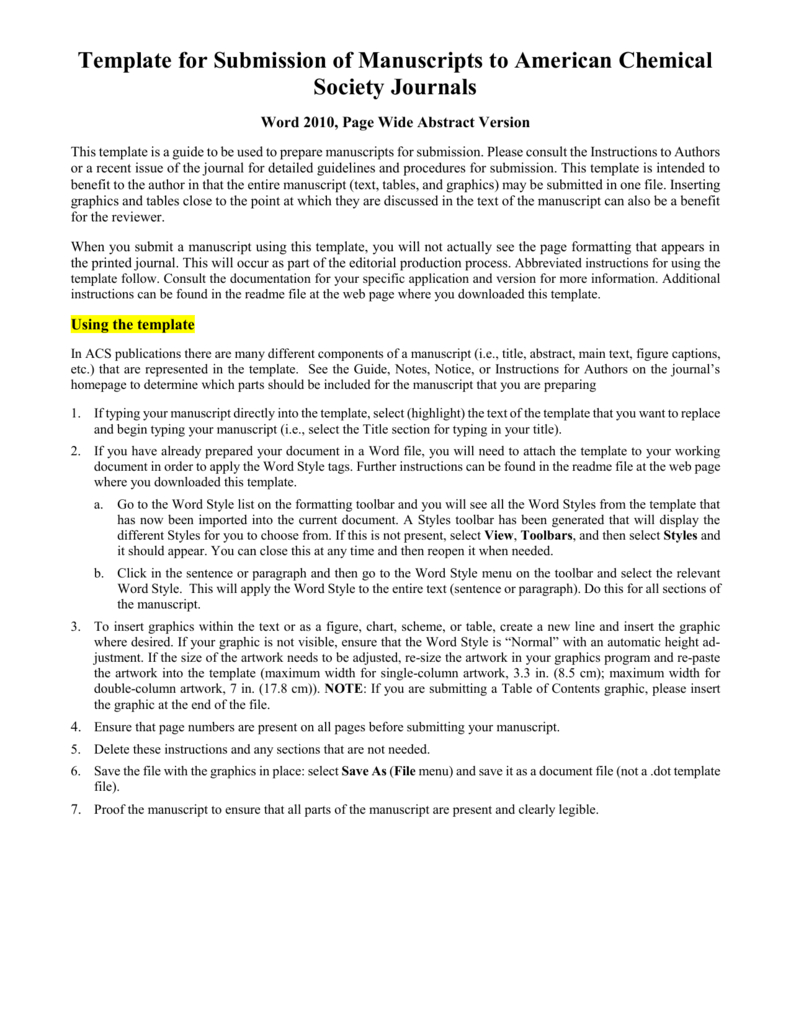 Template For Electronic Submission To Acs Journals Throughout Scientific Paper Template Word 2010