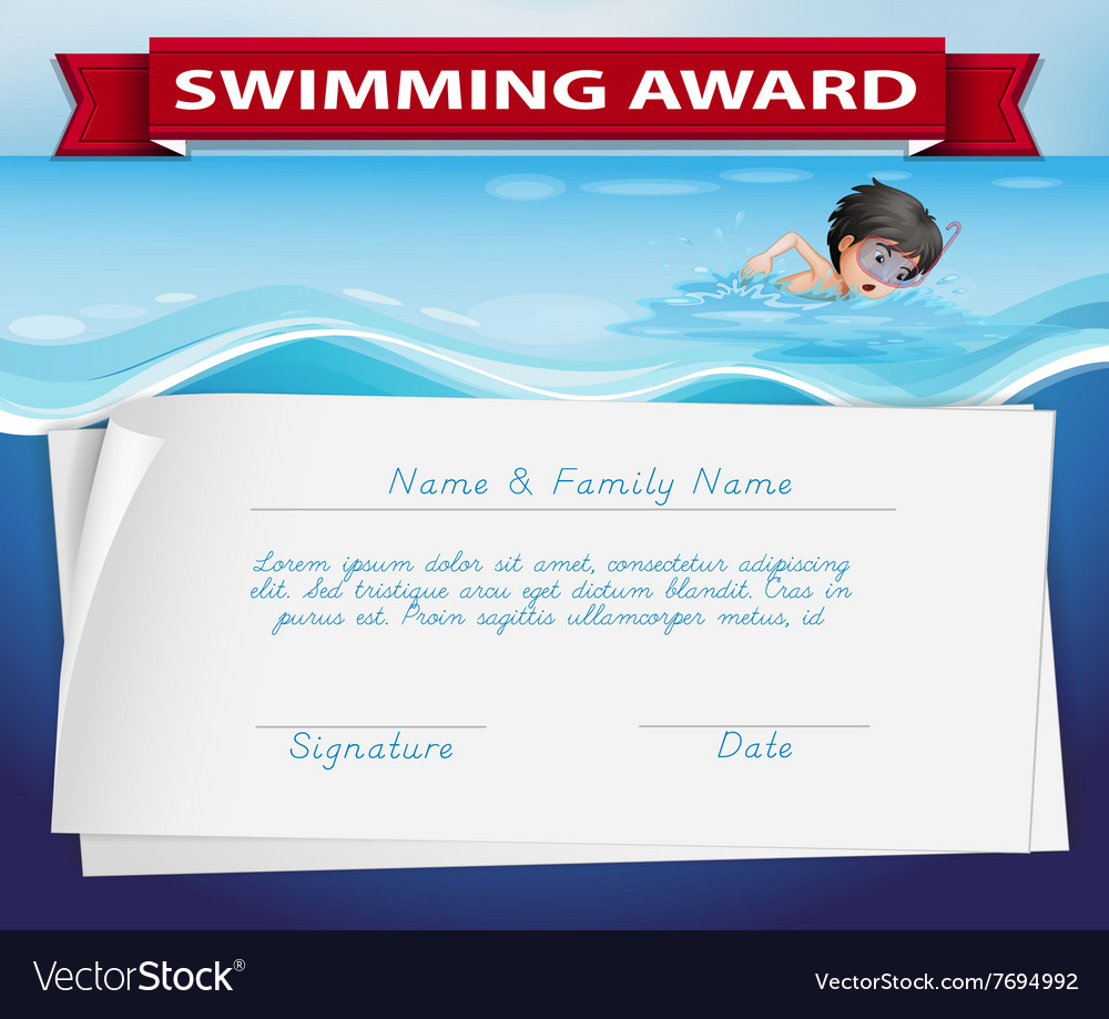 Template Of Certificate For Swimming Award Regarding Swimming Certificate Templates Free