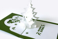 Template Pop-Up Card «Christmas Tree» with 3D Christmas Tree Card Template
