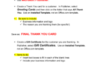 Thank You Card & Gift Certificate Microsoft Publisher . inside Gift Certificate Template Publisher