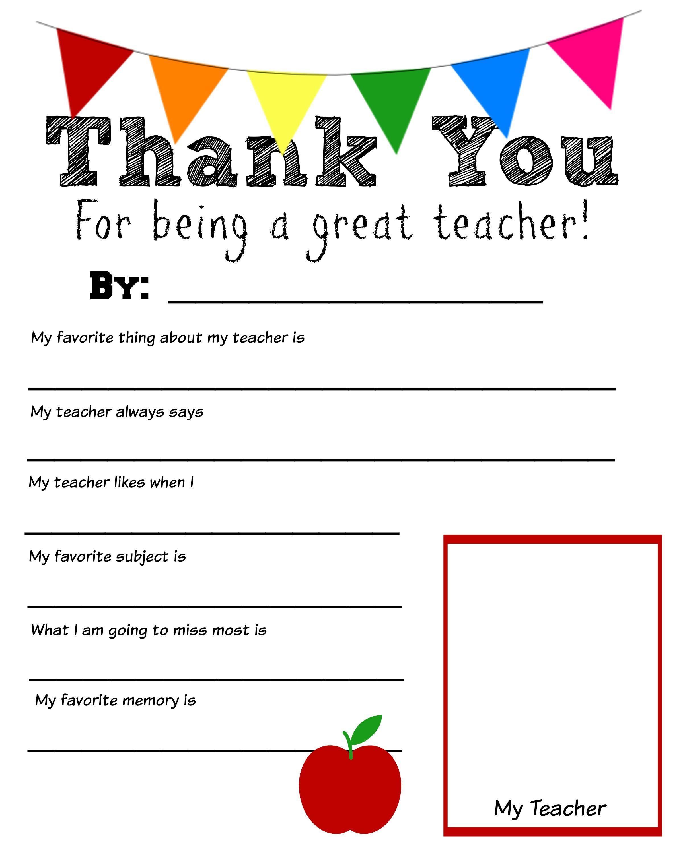 Thank You Teacher Free Printable | School Days | Teacher Regarding Thank You Card For Teacher Template